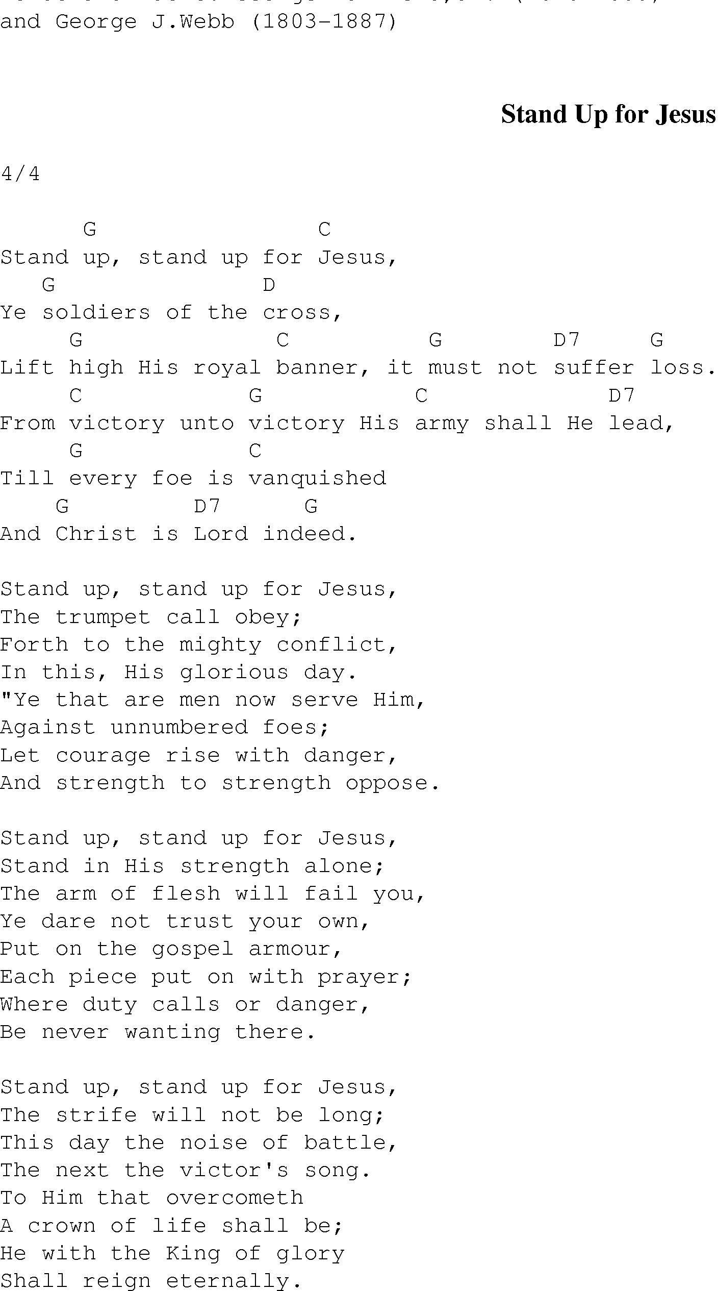 This Is Gospel Piano Chords Stand Up For Jesus Christian Gospel Song Lyrics And Chords