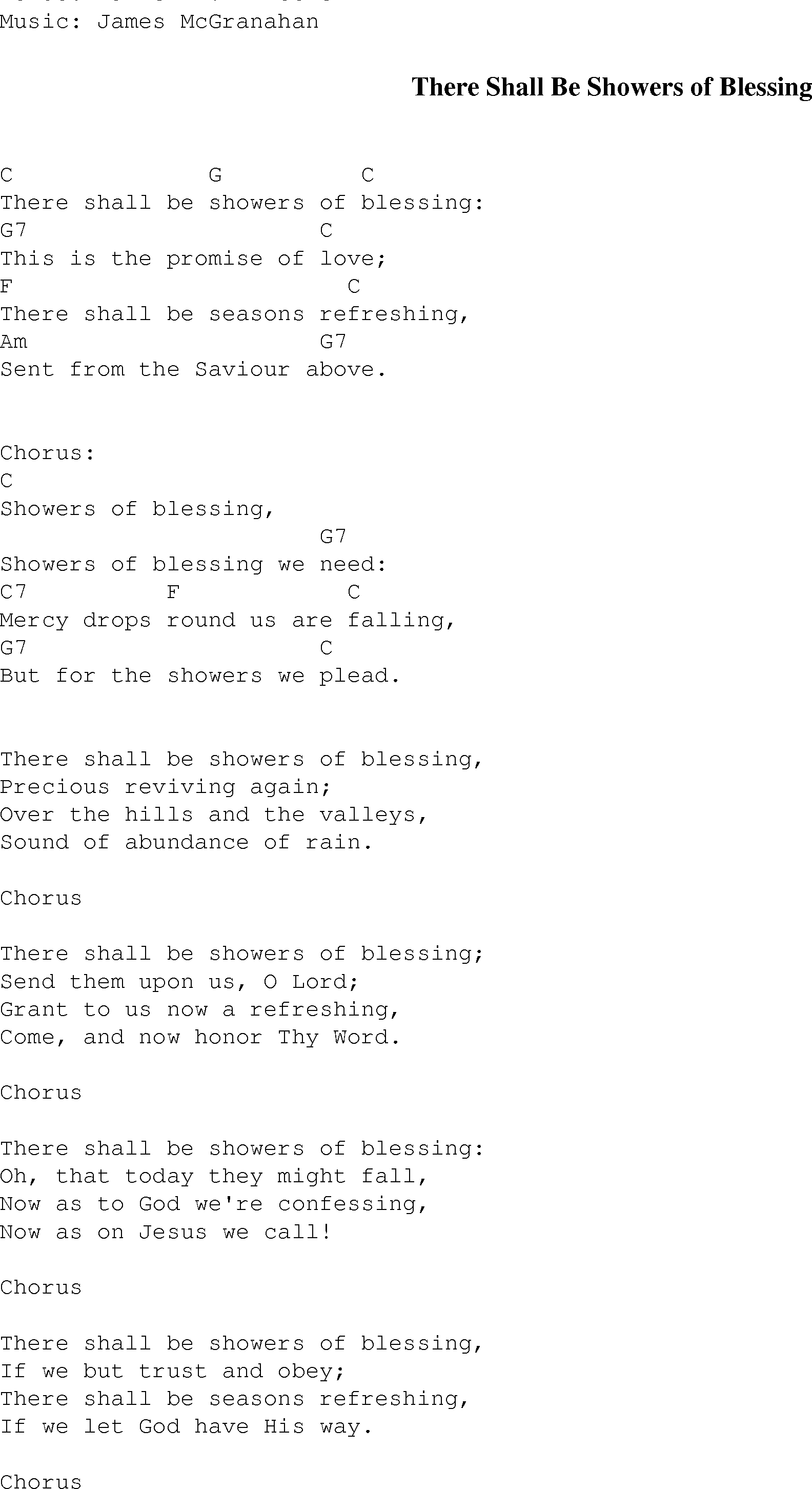 This Is Gospel Piano Chords There Shall Be Showers Of Blessing Christian Gospel Song Lyrics