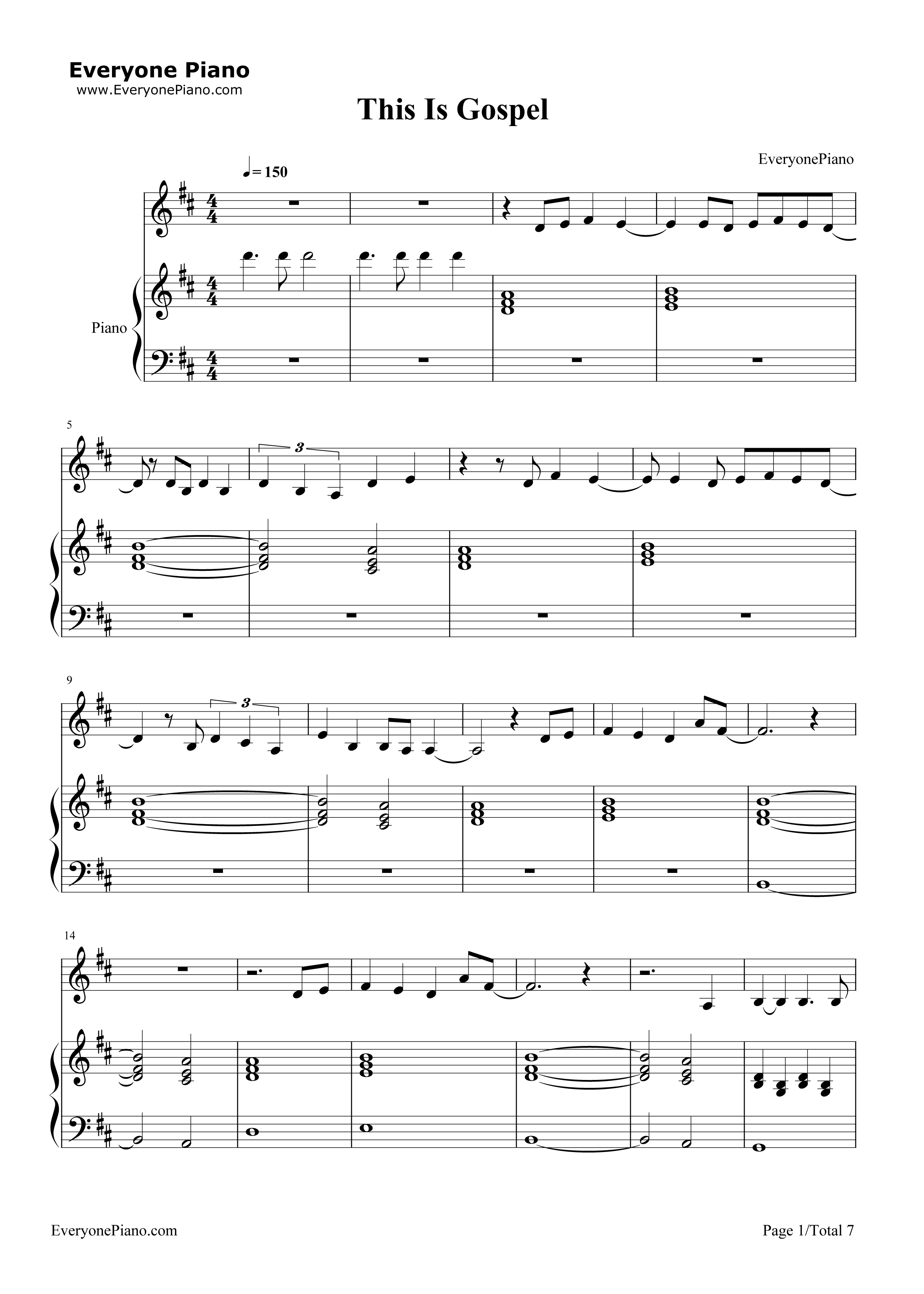 This Is Gospel Piano Chords This Is Gospel Panic At The Disco Stave Preview