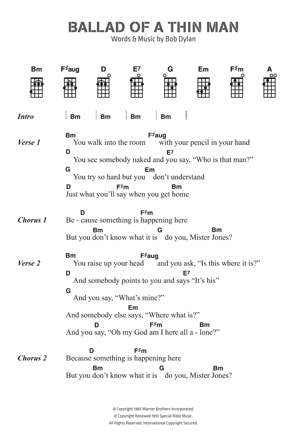 Twenty One Pilots Ukulele Chords Ballad Of A Thin Man Bob Dylan Ukulele Chordslyrics Digital Sheet Music