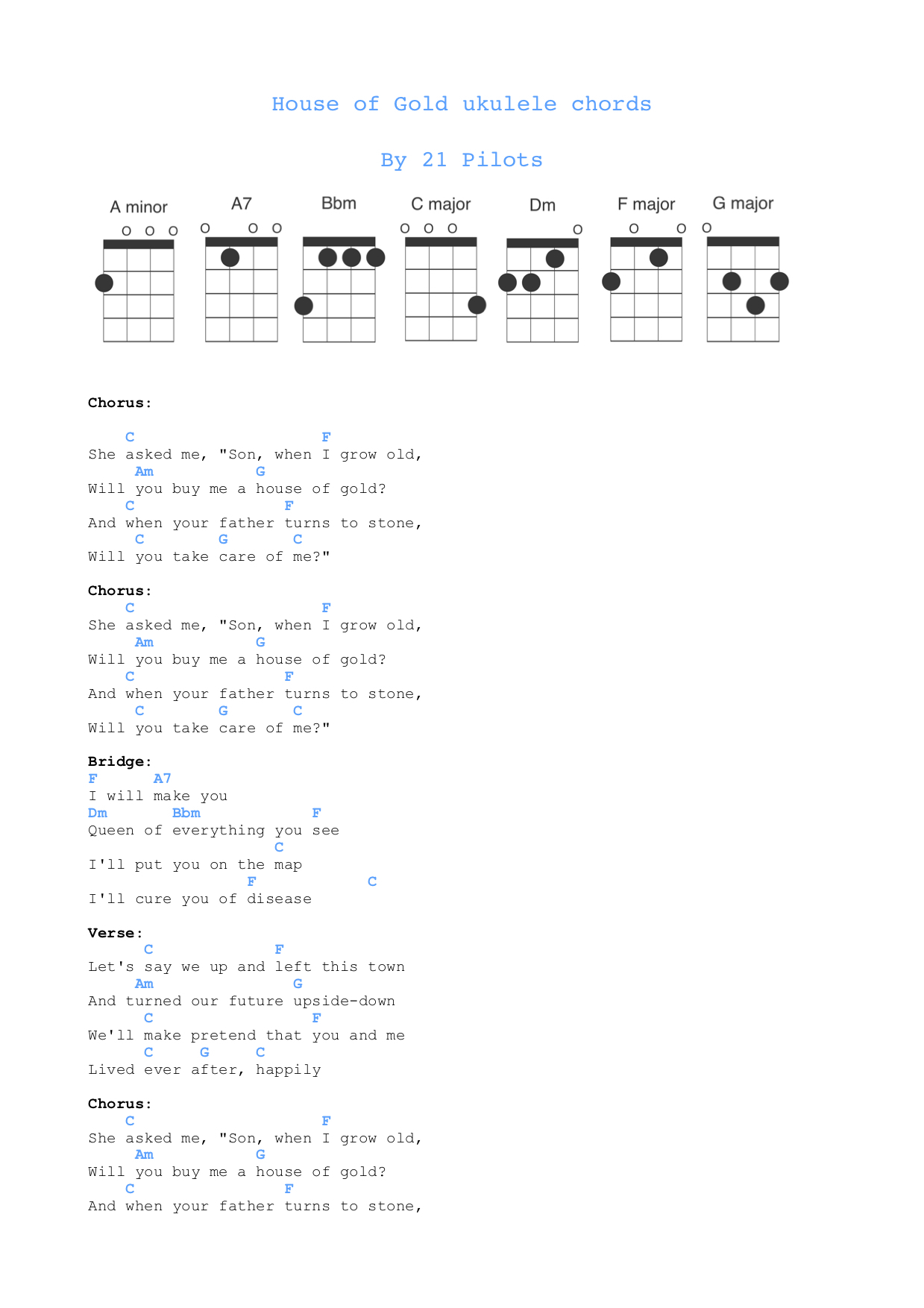 Twenty One Pilots Ukulele Chords House Of Gold Ukulele Chords Free Sheet Music