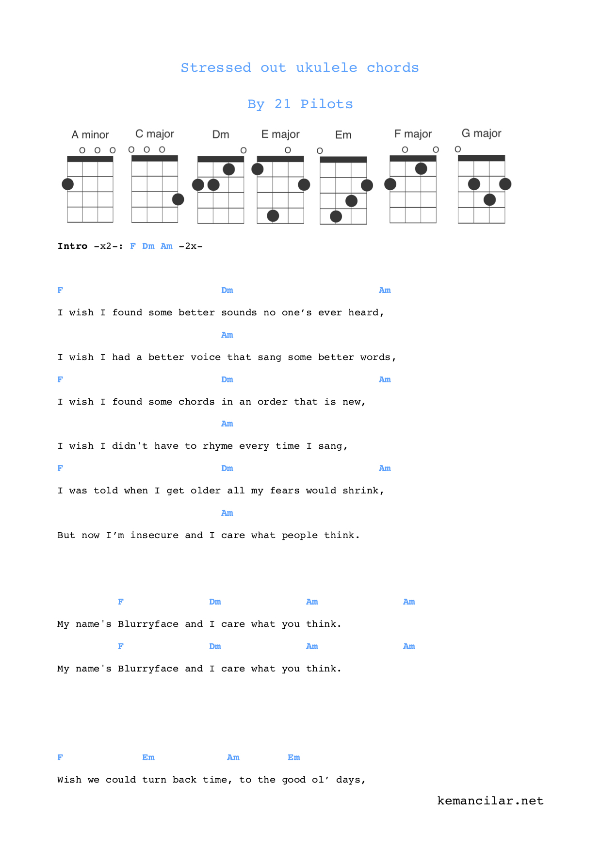 Twenty One Pilots Ukulele Chords Stressed Out Ukulele Chords Free Sheet Music