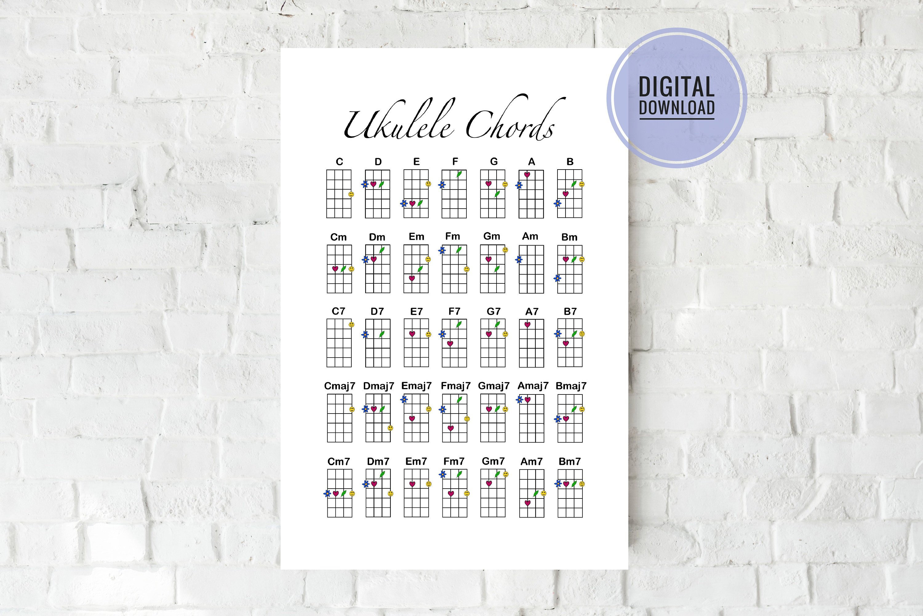 Ukulele Chord Chart Ukulele Chord Chart Digital Download Artwork Stylized Ukulele Chords Wall Art Room Decor Reference Sheet Grace And Gloria Co