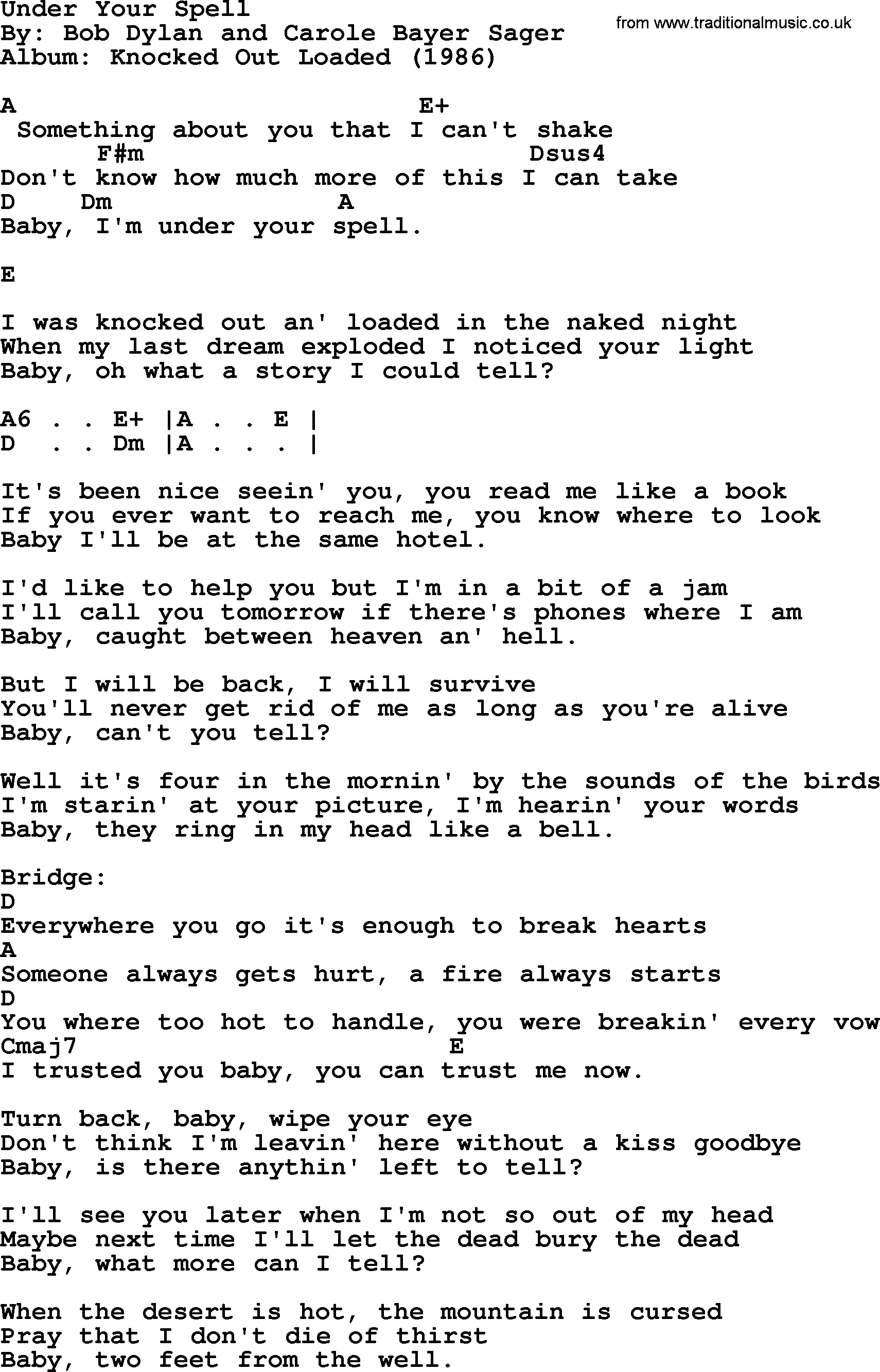 Under The Bridge Chords Bob Dylan Song Under Your Spell Lyrics And Chords
