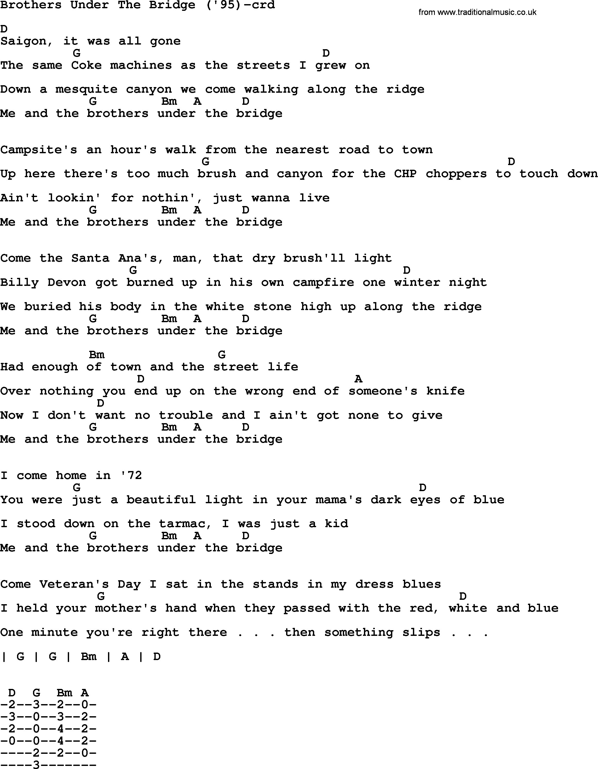 Under The Bridge Chords Bruce Springsteen Song Brothers Under The Bridge95 Lyrics And