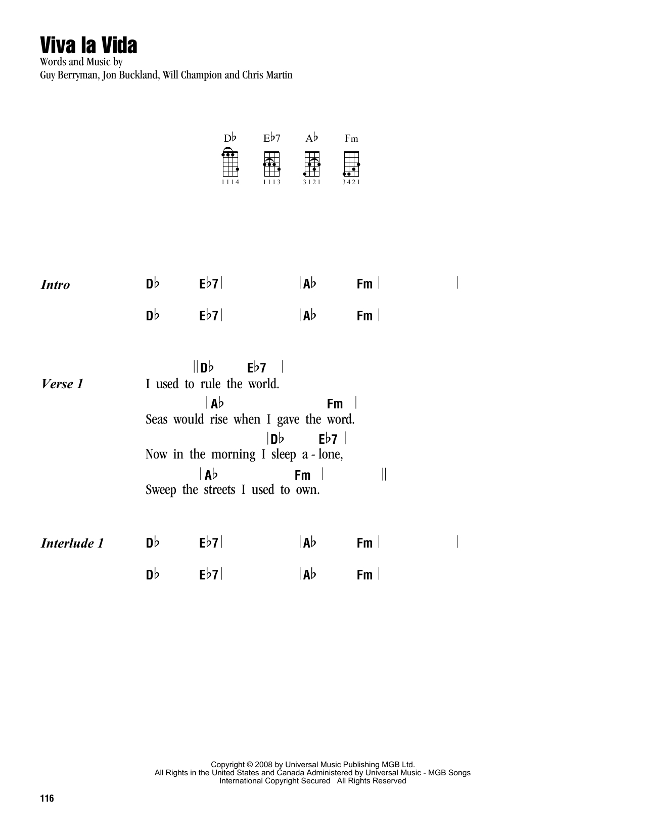 Viva La Vida Chords Viva La Vida Sheet Music To Download