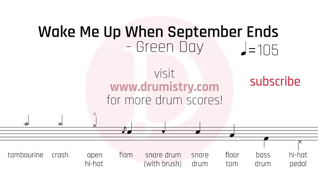 Wake Me Up When September Ends Chords Green Day Wake Me Up When September Ends Drum Score