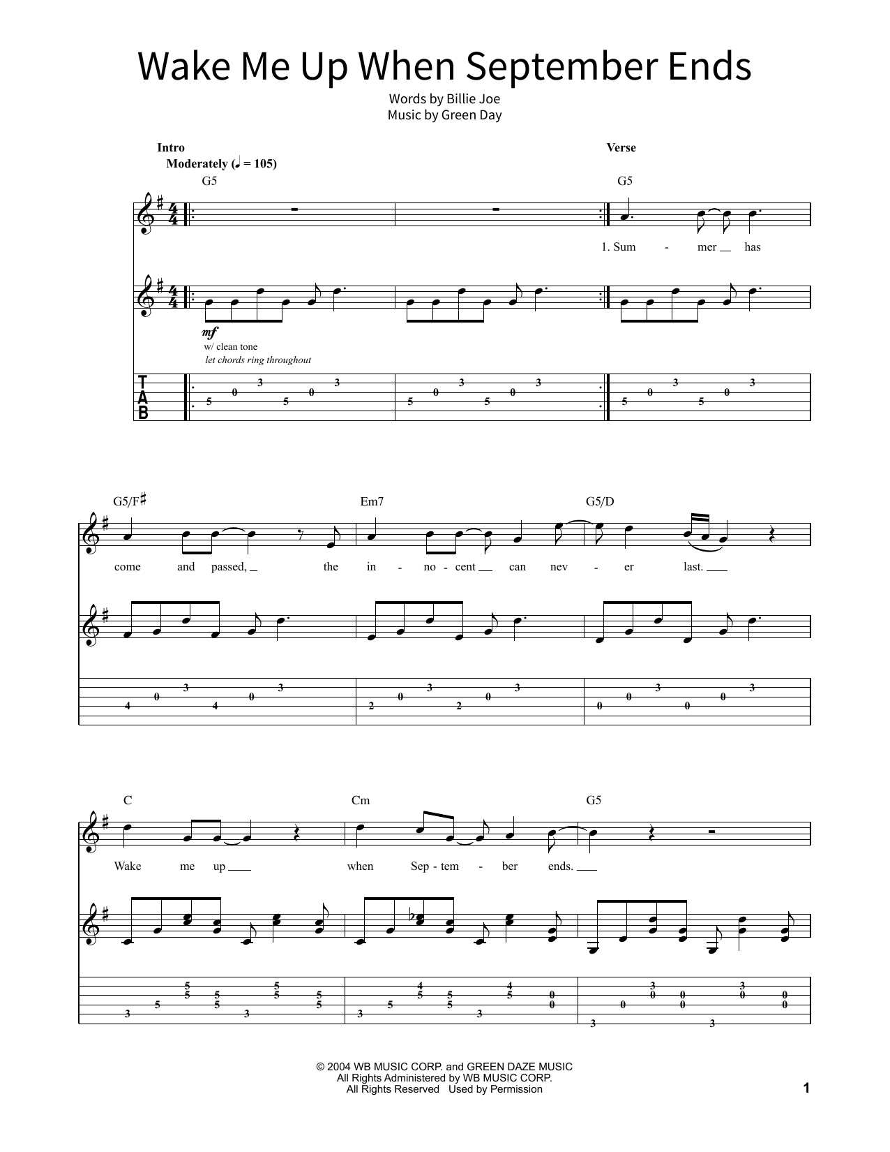Wake Me Up When September Ends Chords Green Day Wake Me Up When September Ends Sheet Music Notes Chords Download Printable School Of Rock Guitar Tab Sku 379384