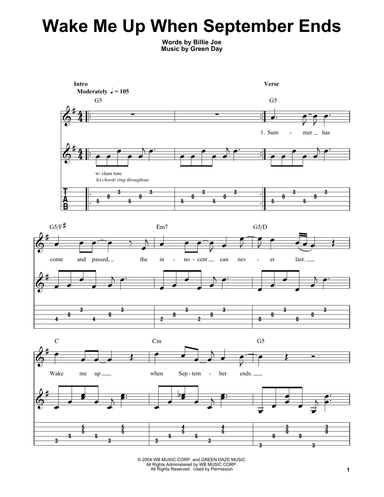 Wake Me Up When September Ends Chords Wake Me Up When September Ends Green Day Easy Guitar Tab