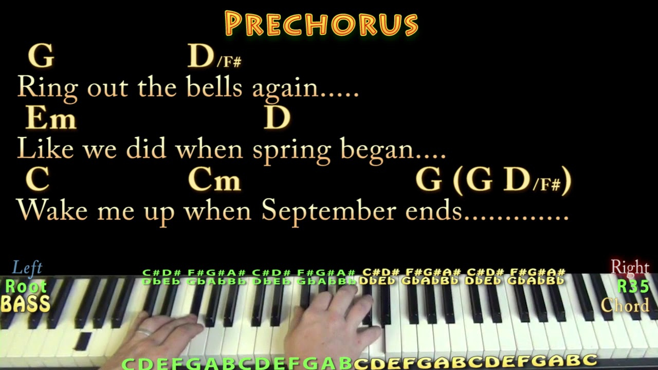 Wake Me Up When September Ends Chords Wake Me Up When September Ends Green Day Piano Lesson Chord Chart With Chordslyrics