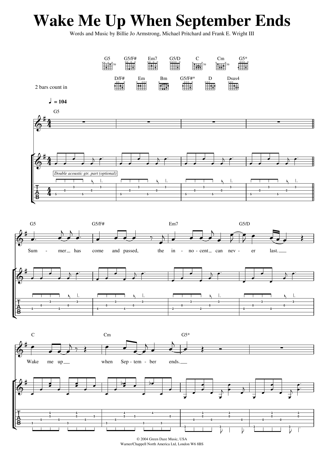 Wake Me Up When September Ends Chords Wake Me Up When September Ends Green Day Piano Vocal Guitar Right Hand Melody Digital Sheet Music