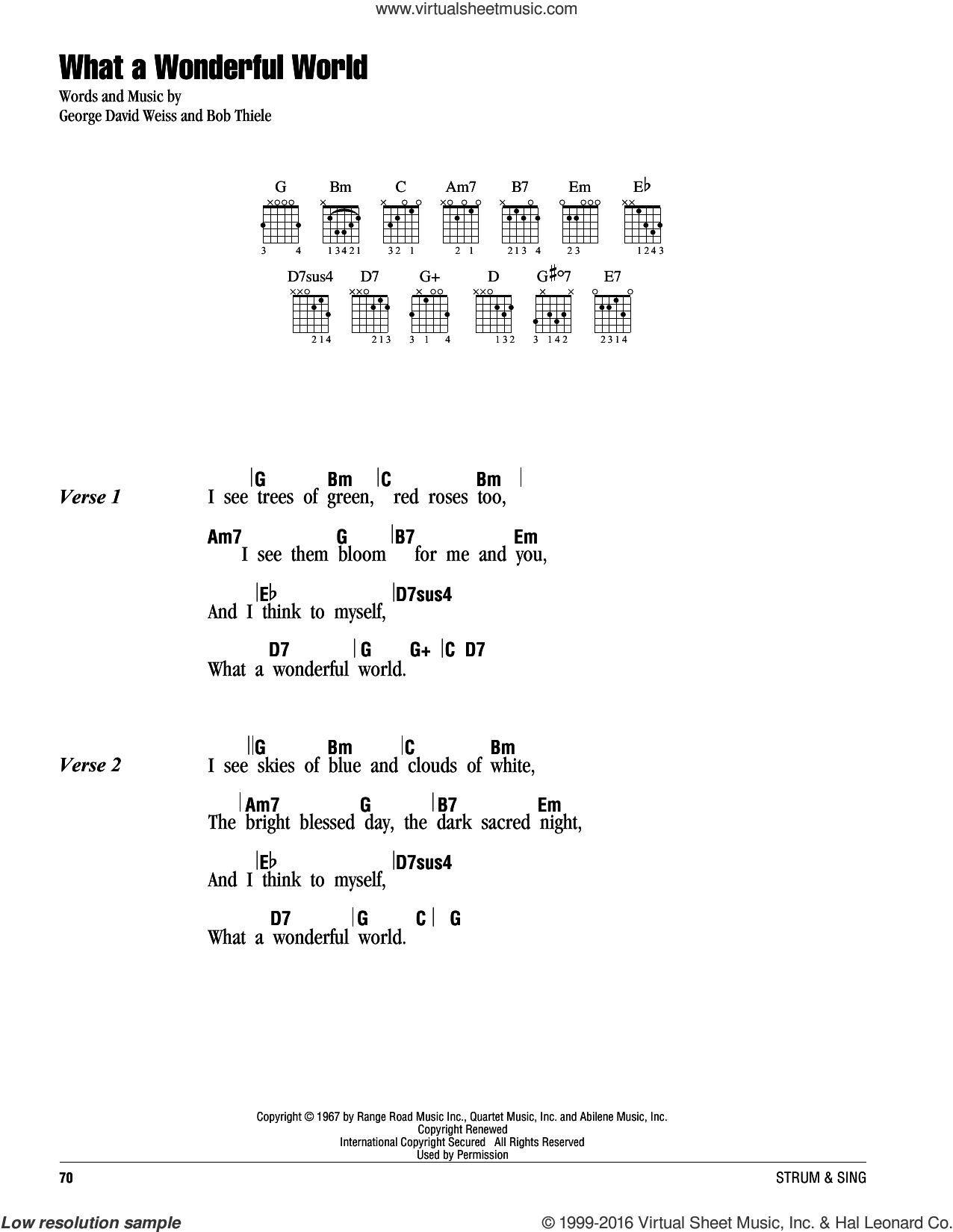 What A Wonderful World Chords Armstrong What A Wonderful World Sheet Music For Guitar Chords