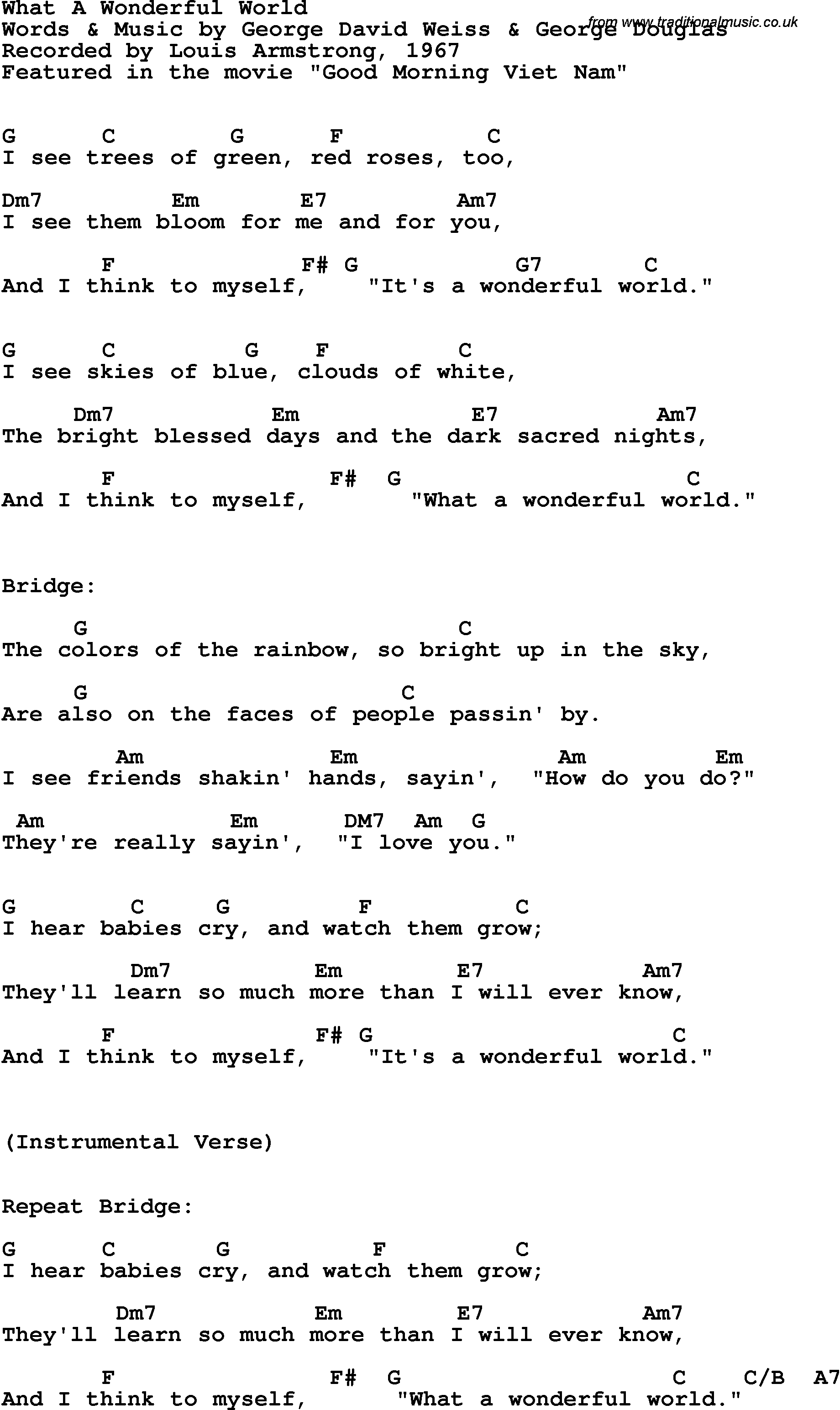 What A Wonderful World Chords Song Lyrics With Guitar Chords For What A Wonderful World Louis