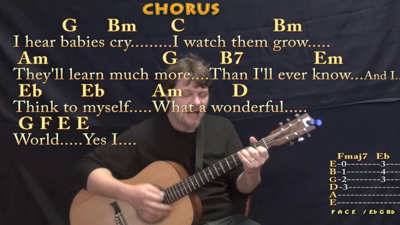 What A Wonderful World Chords What A Wonderful World Louis Armstrong Strum Guitar Cover Lesson In G With Chordslyrics