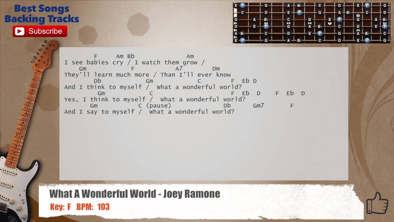 What A Wonderful World Chords What A Wonderful World Rock Joey Ramone Guitar Backing Track With Chords And Lyrics