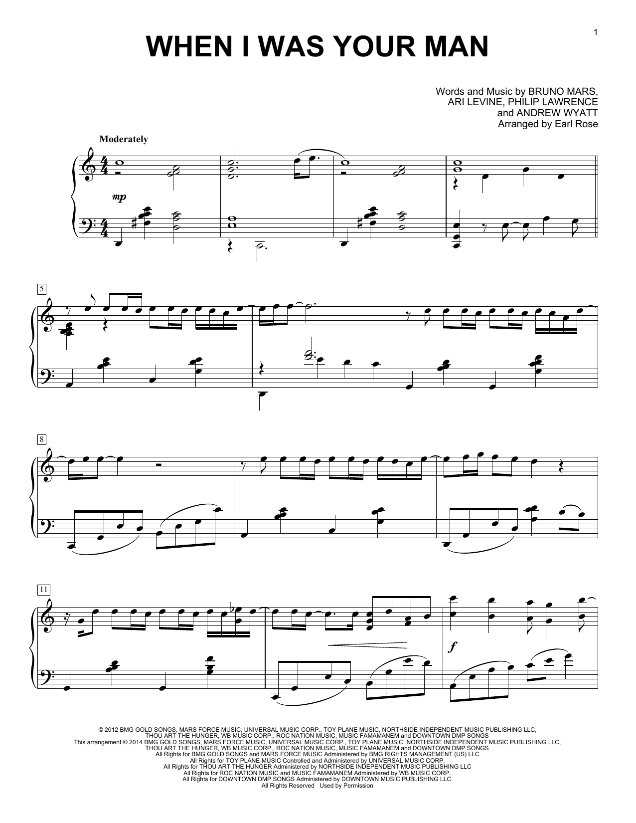 When I Was Your Man Chords Earl Rose When I Was Your Man Sheet Music Notes Chords Download Printable Piano Solo Sku 156797