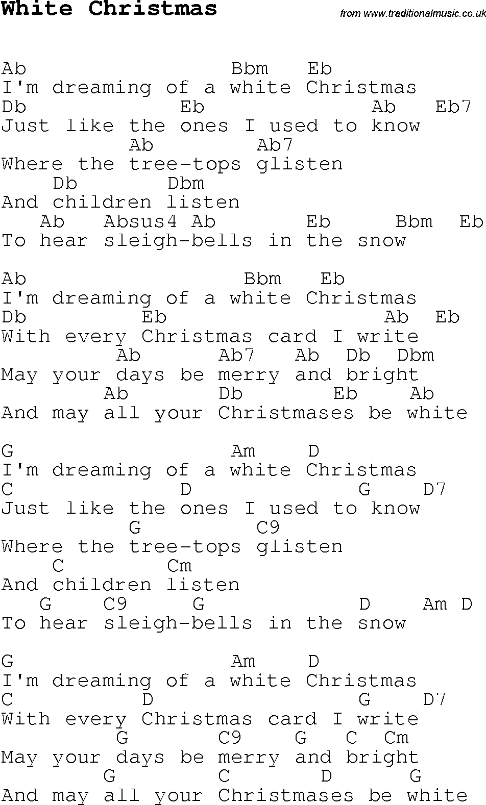 White Christmas Chords Christmas Carolsong Lyrics With Chords For White Christmas