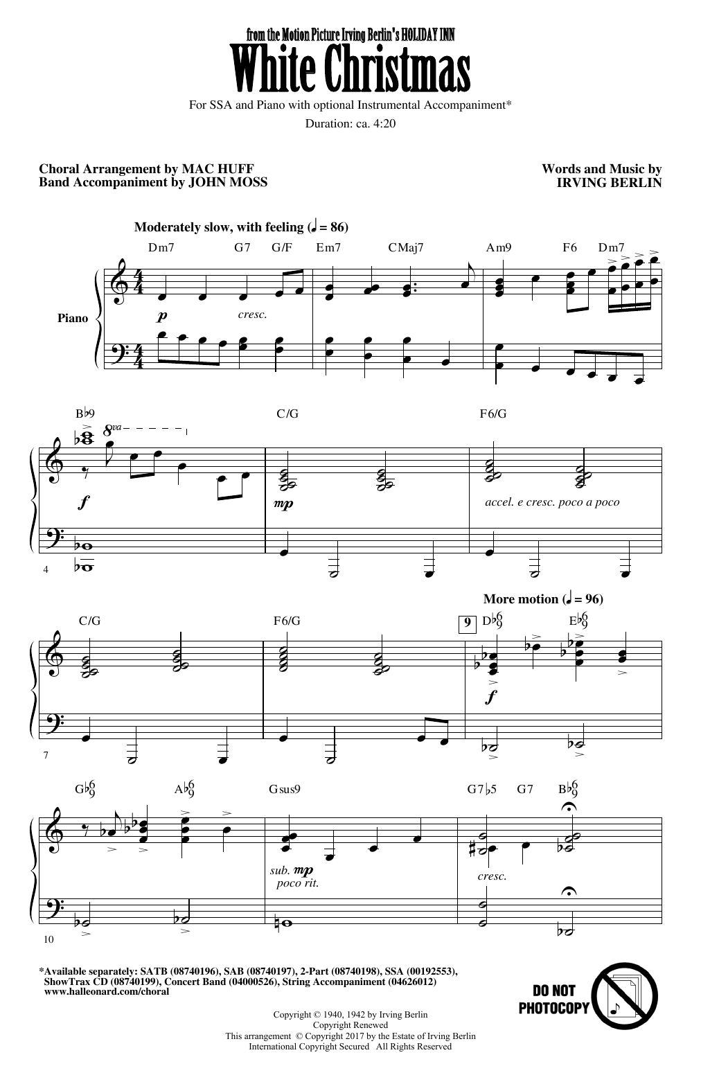 White Christmas Chords Irving Berlin White Christmas Arr Mac Huff Sheet Music Notes Chords Download Printable Ssa Choir Sku 177289