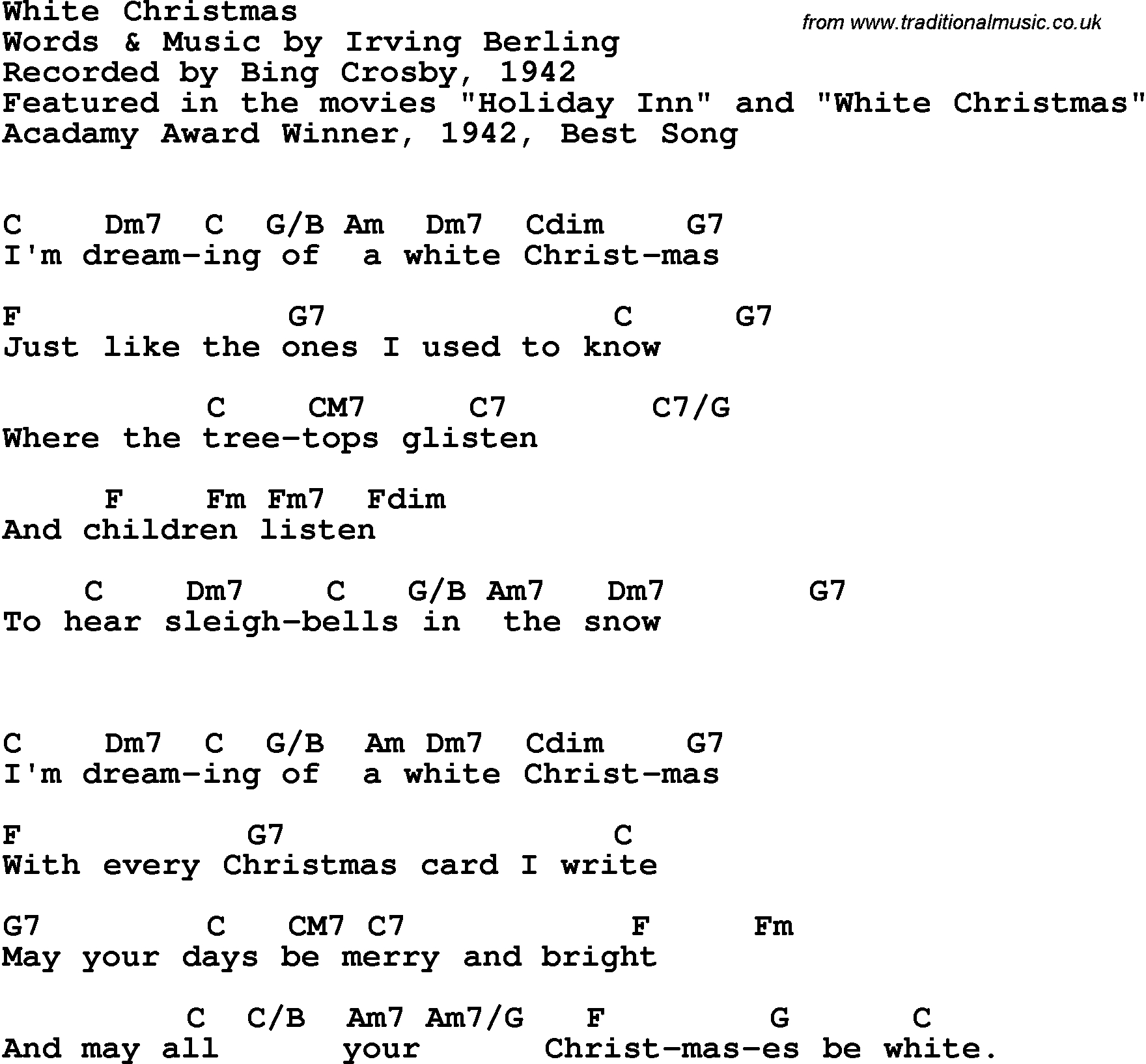 White Christmas Chords Song Lyrics With Guitar Chords For White Christmas Bing Cros 1942