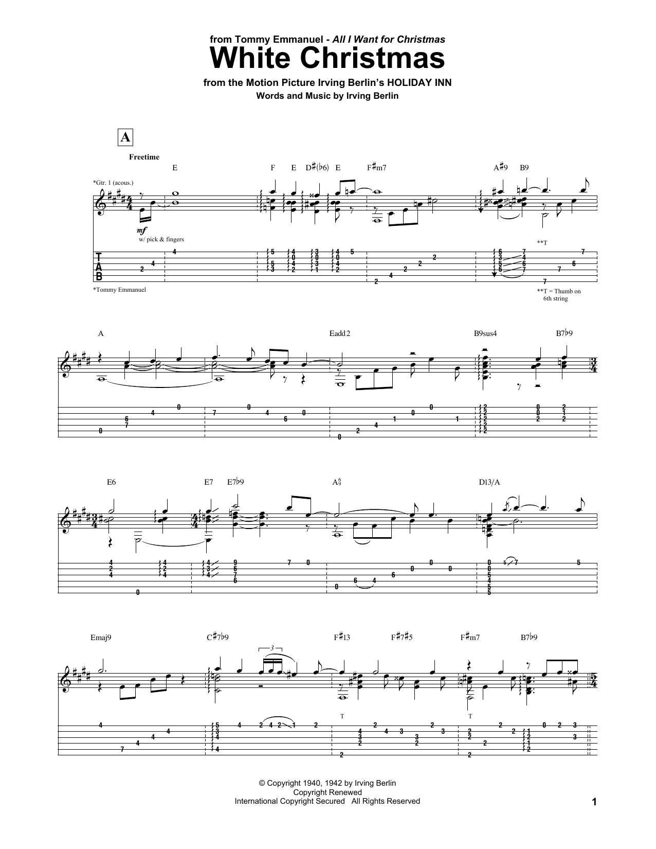 White Christmas Chords White Christmas Tommy Emmanuel Guitar Tab Guitar Instructor