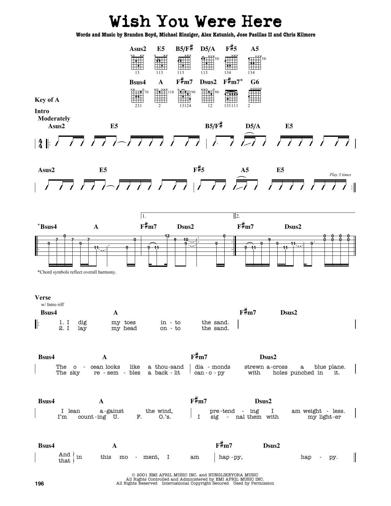 Wish You Were Here Chords Sheet Music Digital Files To Print Licensed Incubus Digital Sheet