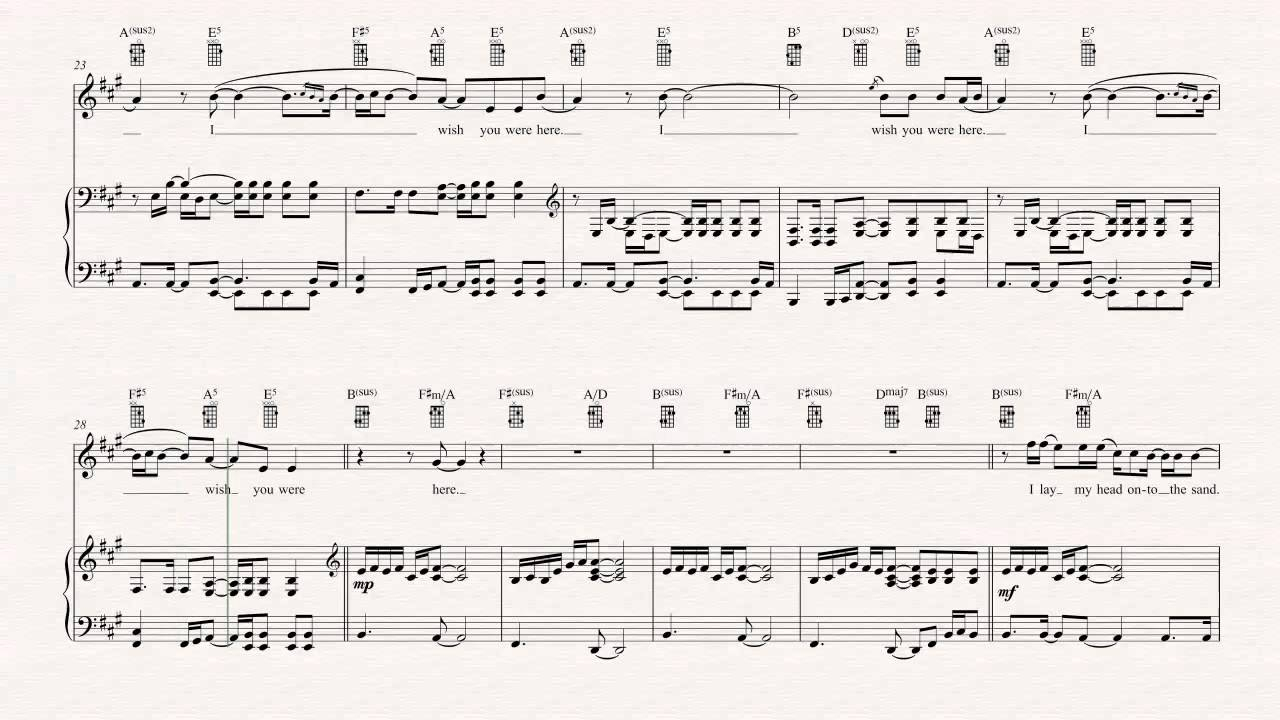 Wish You Were Here Chords Ukulele Wish You Were Here Incubus Sheet Music Chords Vocals