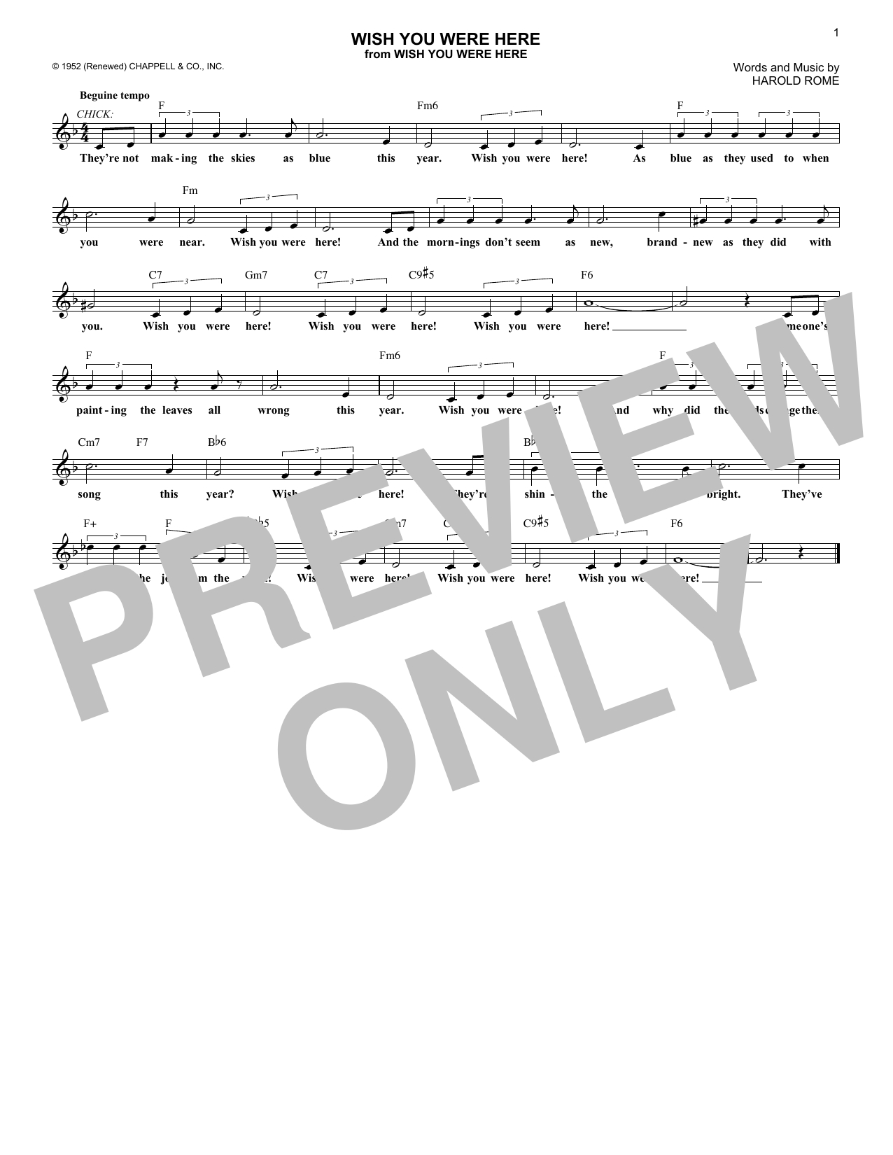 Wish You Were Here Chords Wish You Were Here Lead Sheet Fake Book Print Sheet Music Now