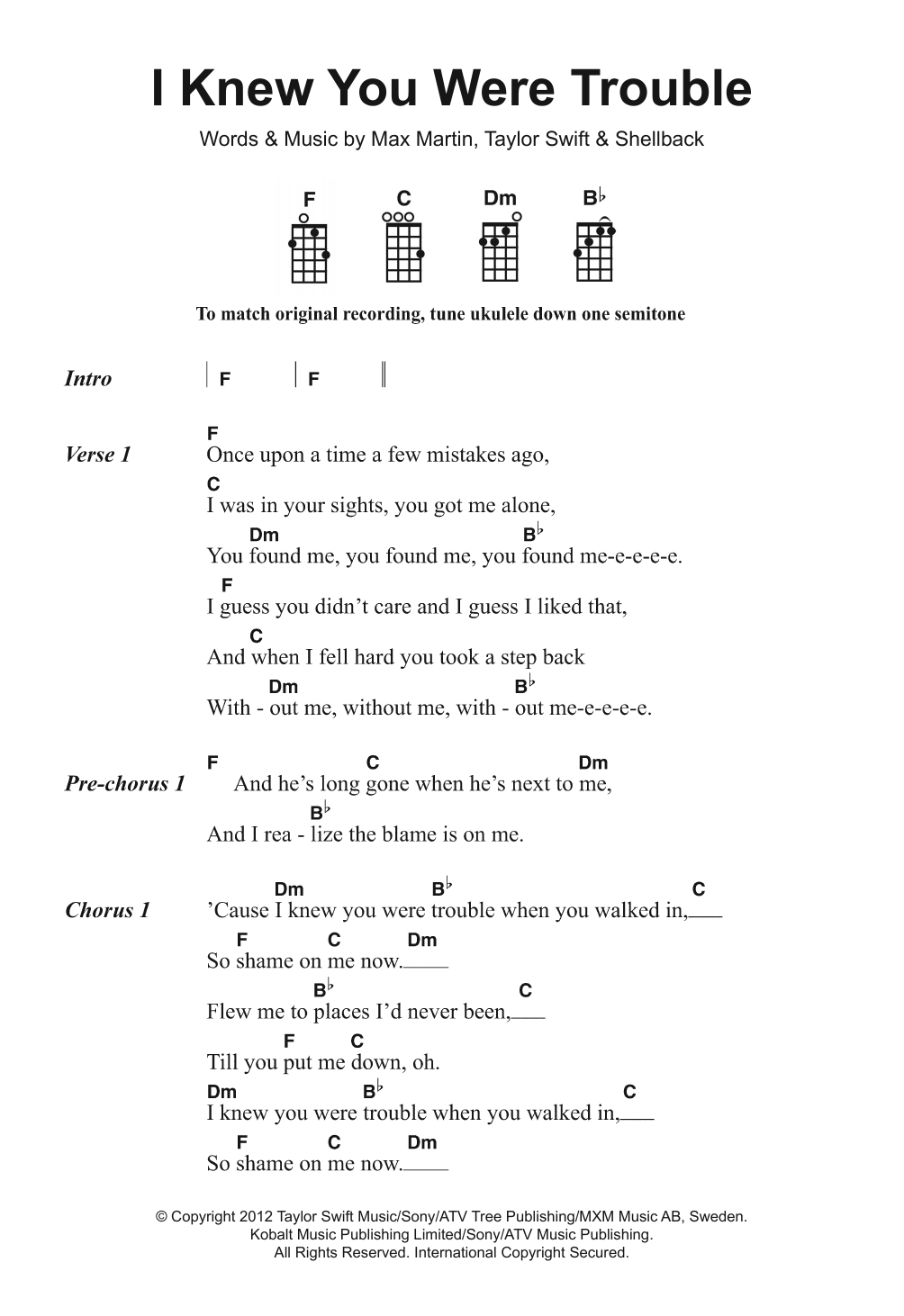You And I Ukulele Chords I Knew You Were Trouble Taylor Swift Piano Vocal Guitar Right Hand Melody Digital Sheet Music