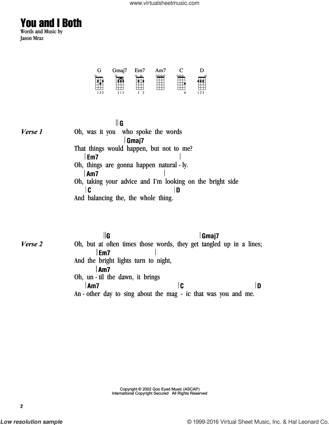 You And I Ukulele Chords Mraz You And I Both Sheet Music For Ukulele Chords Pdf