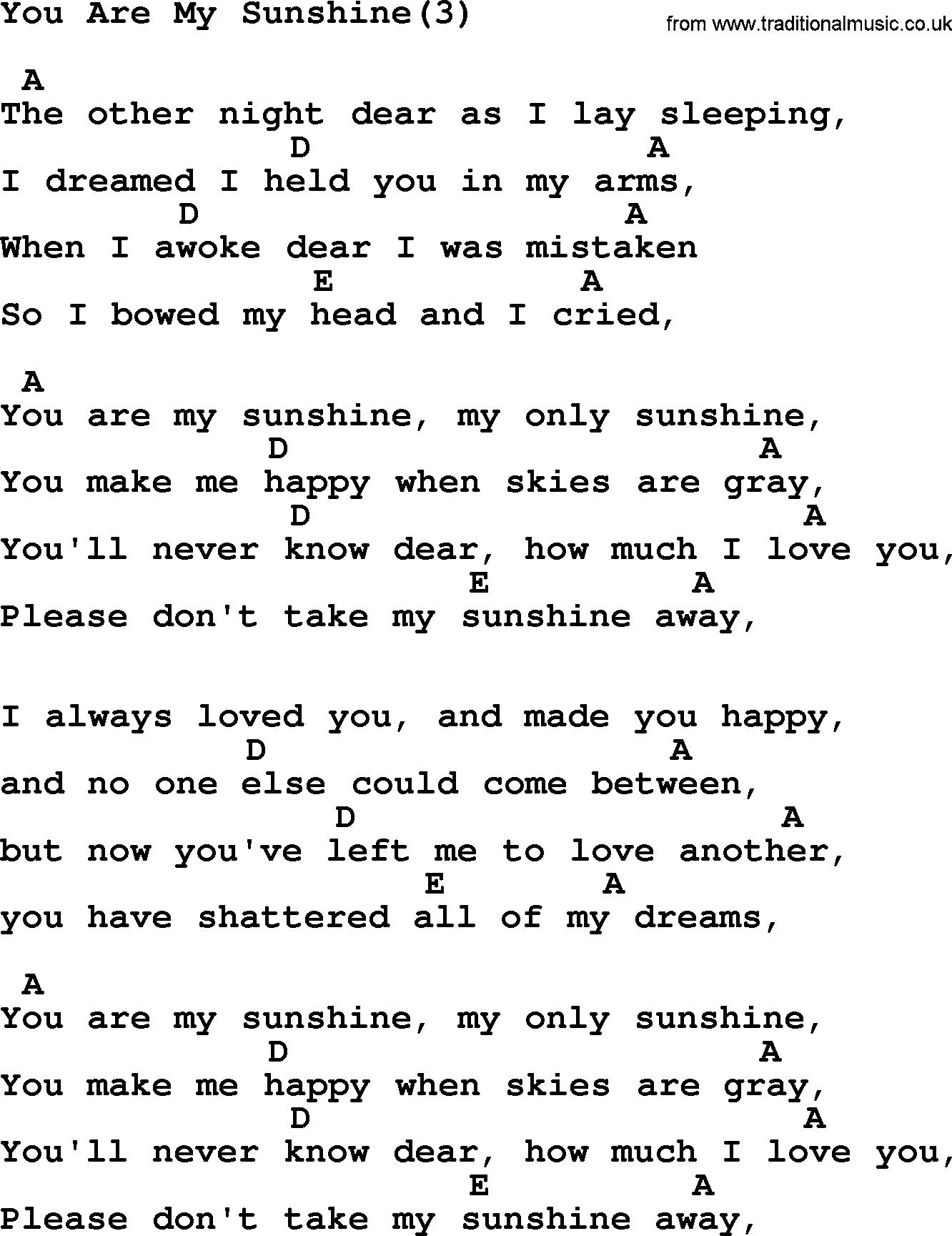 You Are My Sunshine Chords Johnny Cash Song You Are My Sunshine3 Lyrics And Chords