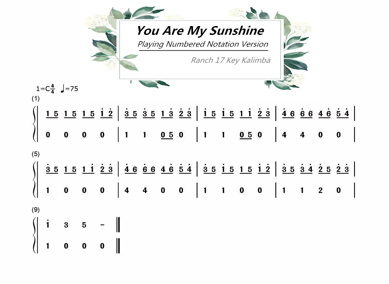 You Are My Sunshine Chords Ranch Beginners 17 Key Kalimba Lesson 2 You Are My Sunshine
