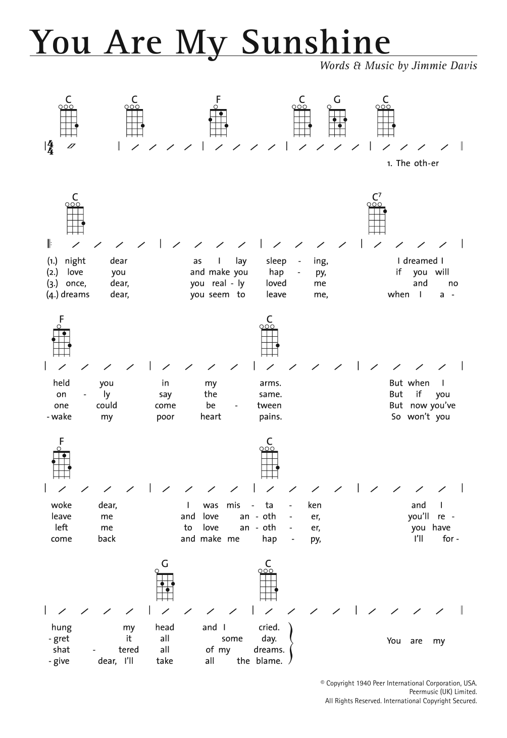 You Are My Sunshine Chords You Are My Sunshine Sheet Music Jimmie Davis Ukulele With