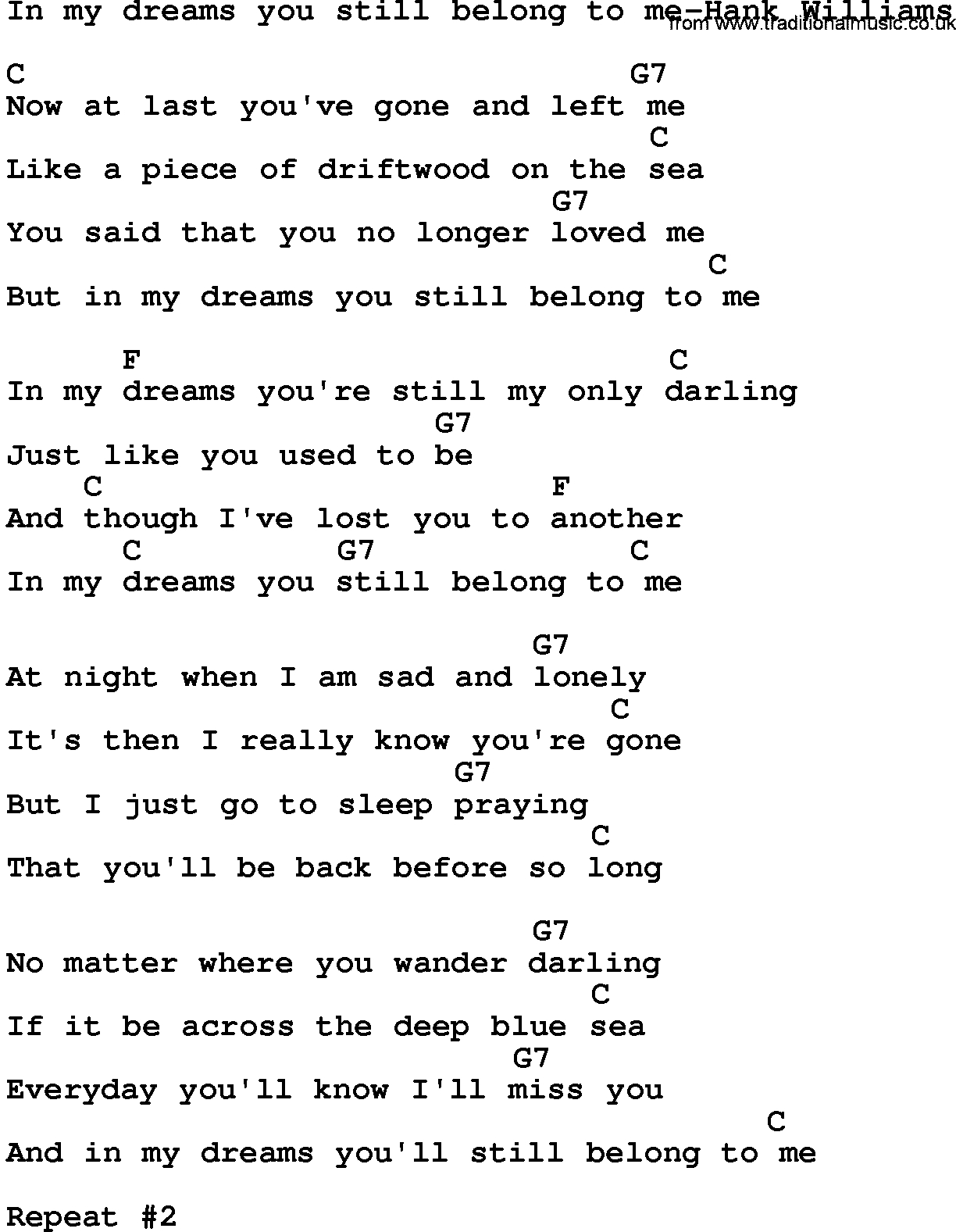 You Belong With Me Chords Country Musicin My Dreams You Still Belong To Me Hank Williams