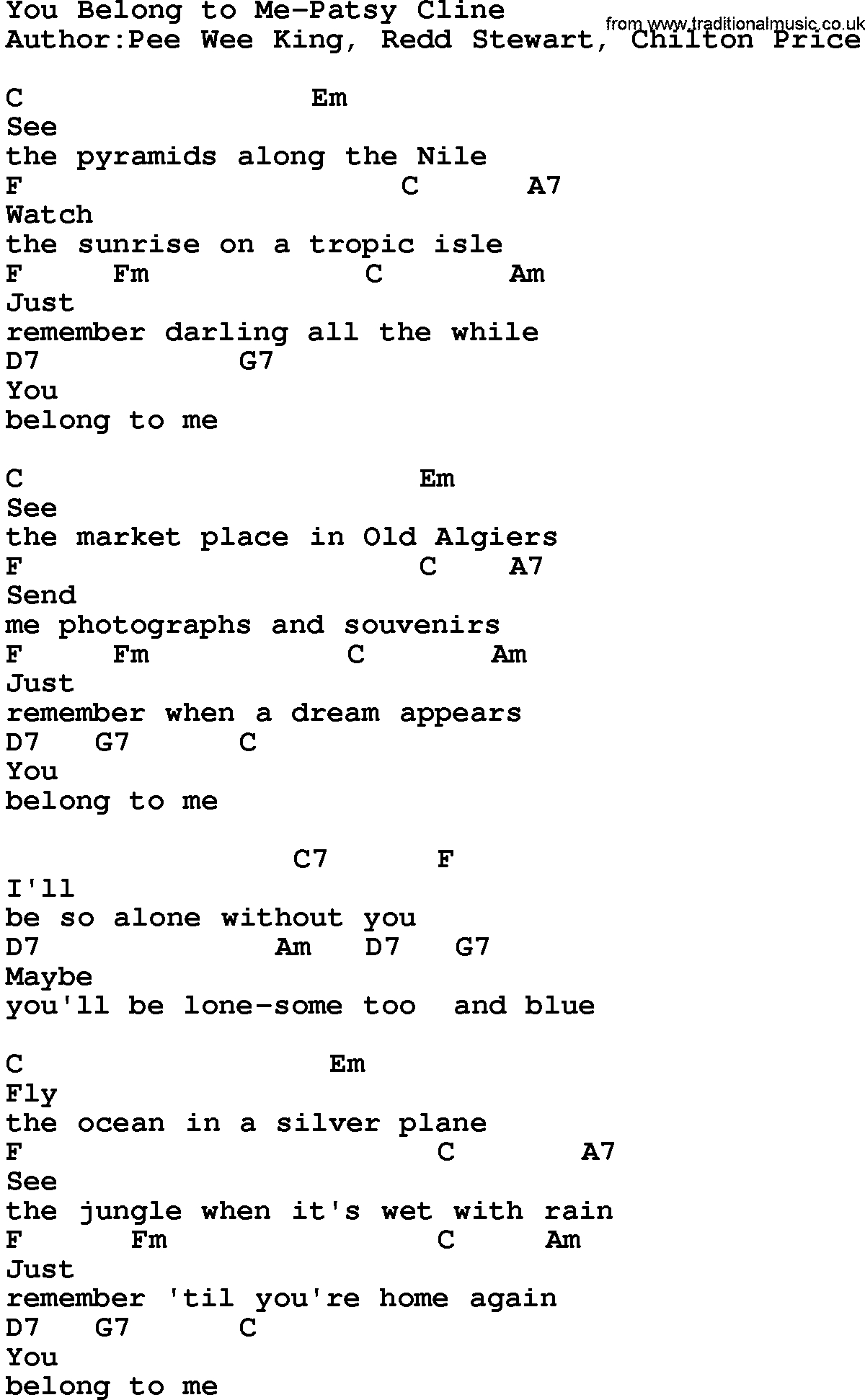 You Belong With Me Chords Country Musicyou Belong To Me Patsy Cline Lyrics And Chords