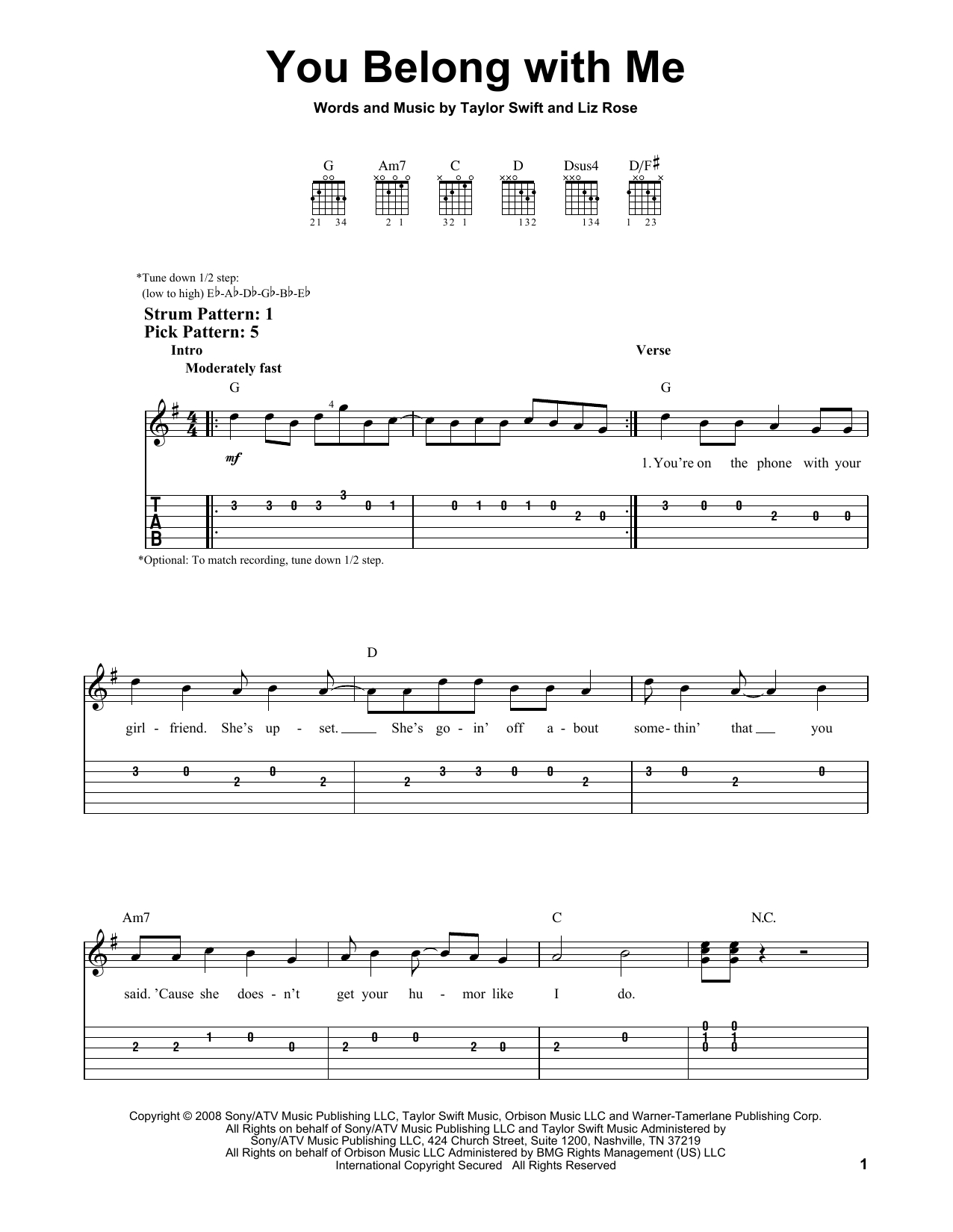 You Belong With Me Chords You Belong With Me Taylor Swift Easy Guitar Tab Guitar Instructor