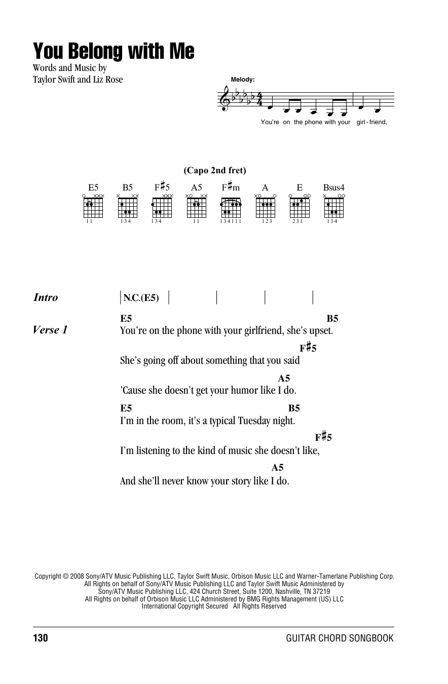 You Belong With Me Chords You Belong With Me Taylor Swift Guitar Chordslyrics Guitar