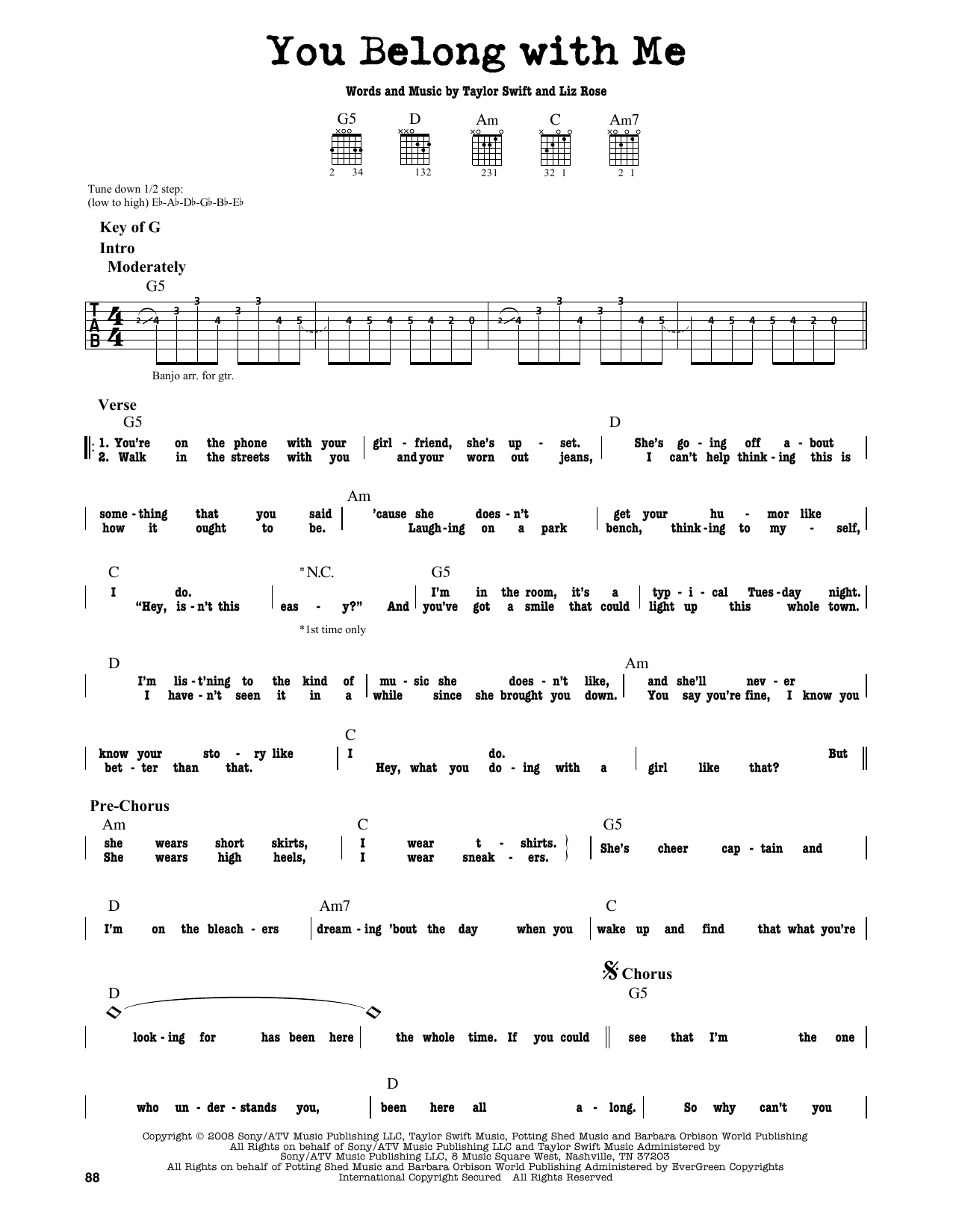 You Belong With Me Chords You Belong With Me Taylor Swift Guitar Lead Sheet Guitar