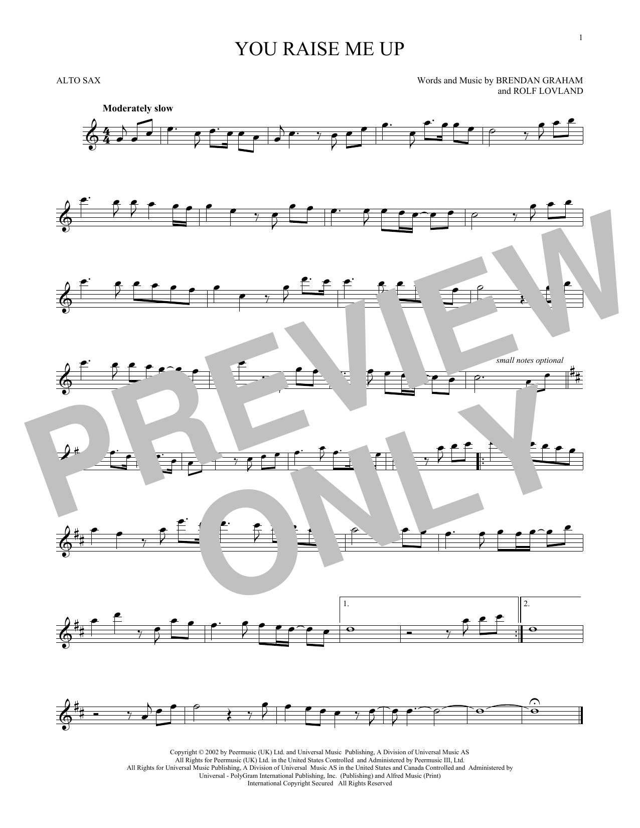 You Raise Me Up Chords Brendan Graham You Raise Me Up Sheet Music Notes Chords Download Printable Alto Saxophone Sku 169522