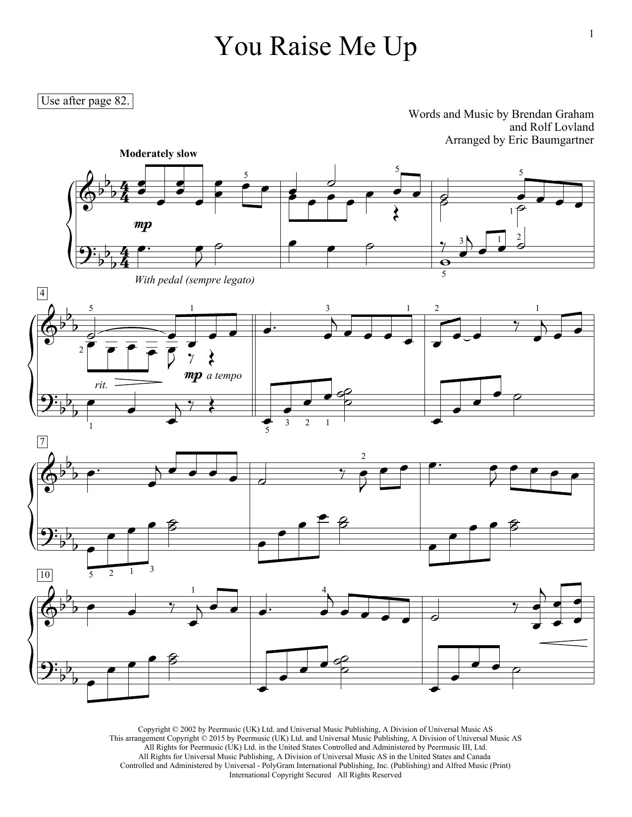 You Raise Me Up Chords You Raise Me Up Educational Piano Print Sheet Music Now