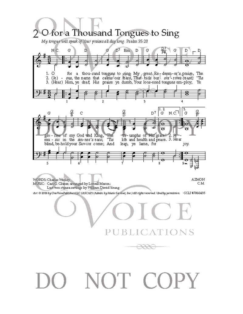 Your Great Name Chords O For A Thousand Tongues To Sing Sheet Music With Guitar Chords