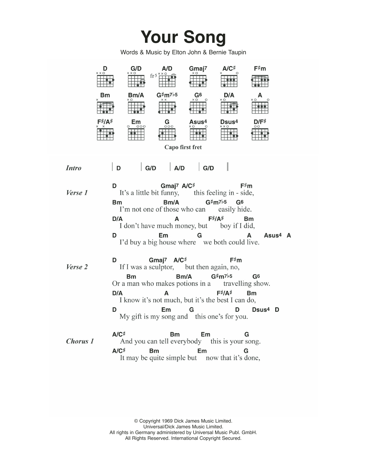 Your Song Chords Your Song Elton John Piano Vocal Guitar Right Hand Melody Digital Sheet Music