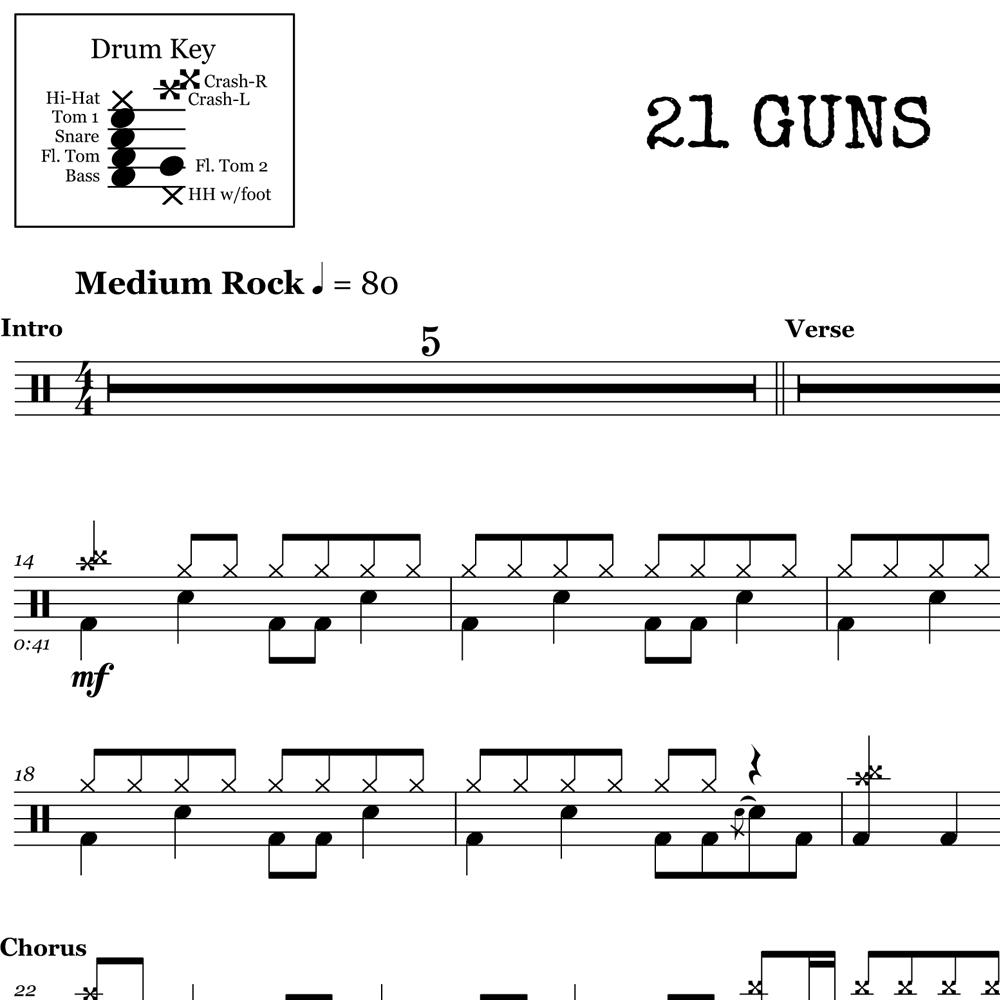 21 Guns Chords 21 Guns Green Day Drum Sheet Music