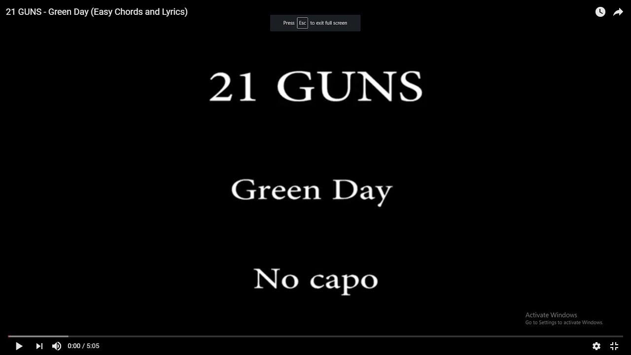 21 Guns Chords 21 Guns Green Day Easy Chords And Lyrics
