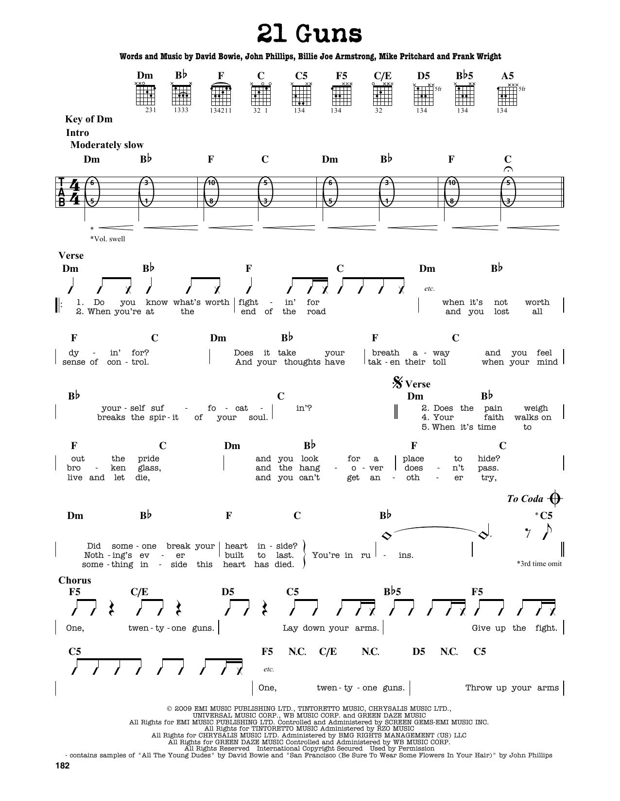21 Guns Chords 21 Guns Green Day Guitar Lead Sheet Guitar Instructor
