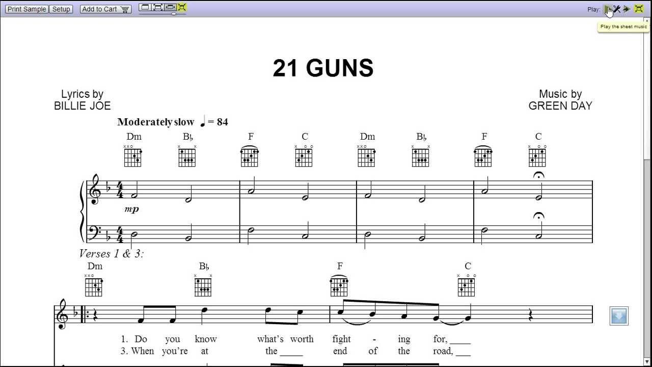21 Guns Chords 21 Guns Green Day Piano Sheet Music Teaser