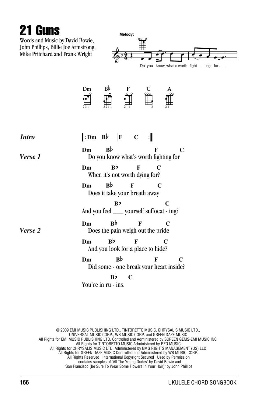 21 Guns Chords 21 Guns Green Day Ukulele With Strumming Patterns Digital Sheet Music