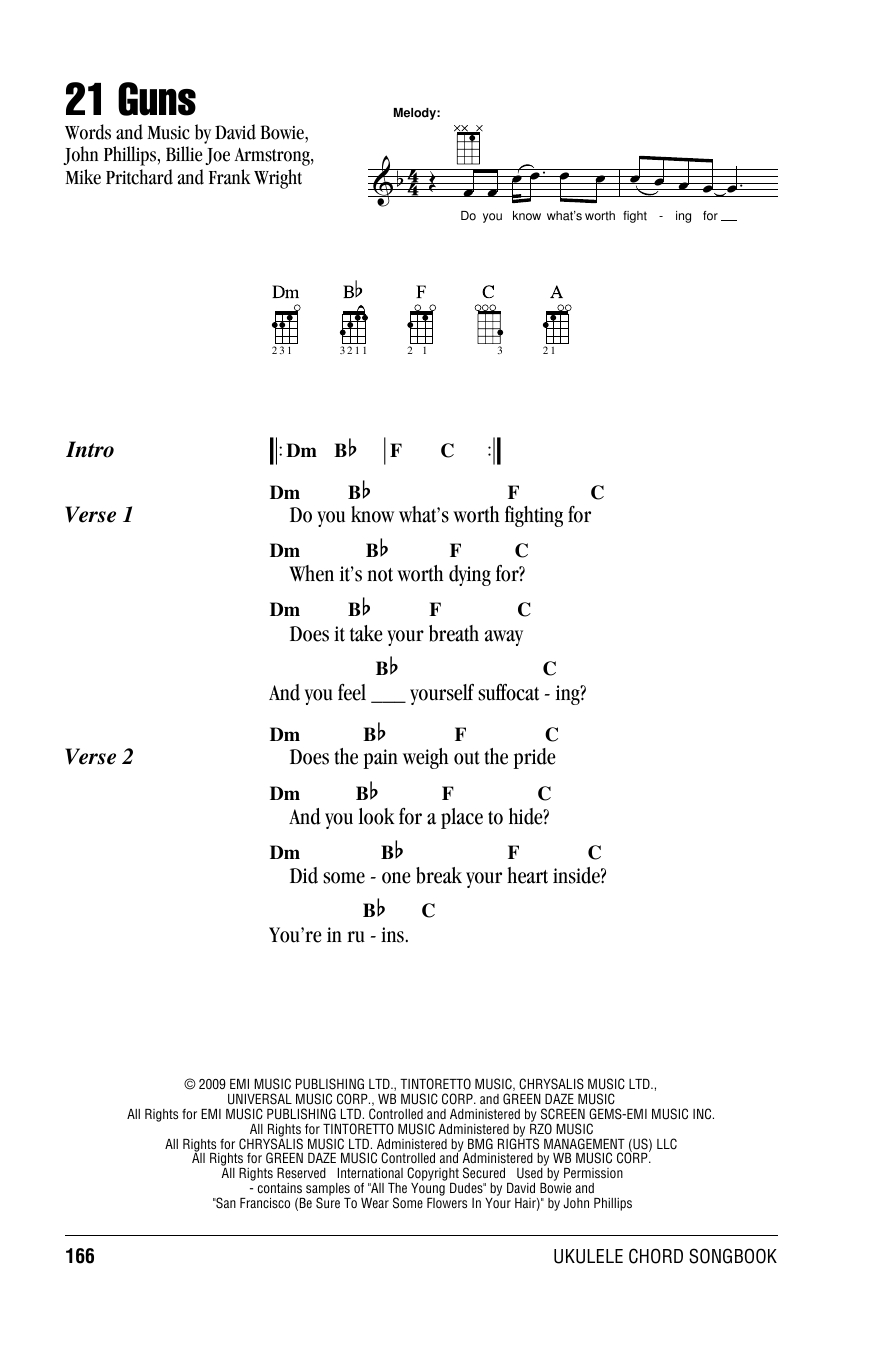 21 Guns Chords 21 Guns Green Day Ukulele With Strumming Patterns Digital Sheet Music