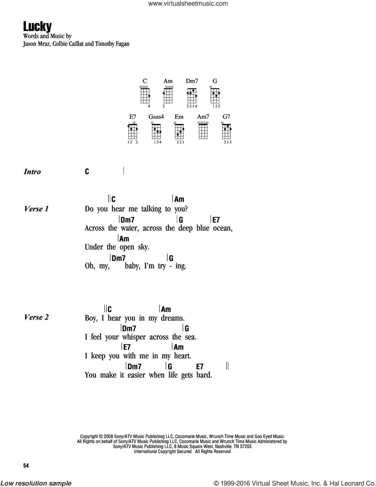 21 Guns Chords Caillat Lucky Sheet Music For Ukulele Chords Pdf
