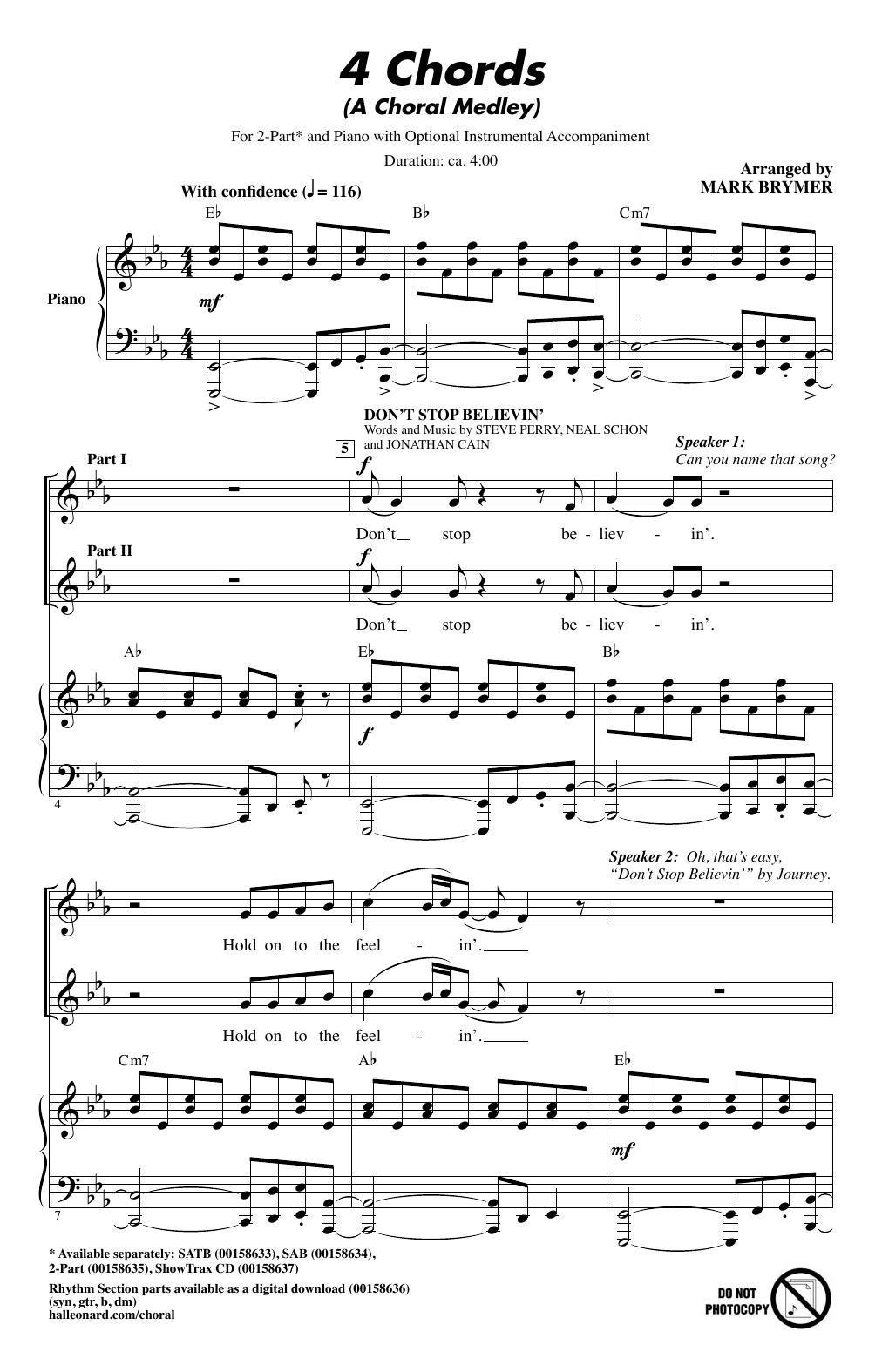 4 Chord Song 4 Chords A Choral Medley Mark Brymer 2 Part Choir Digital Sheet Music