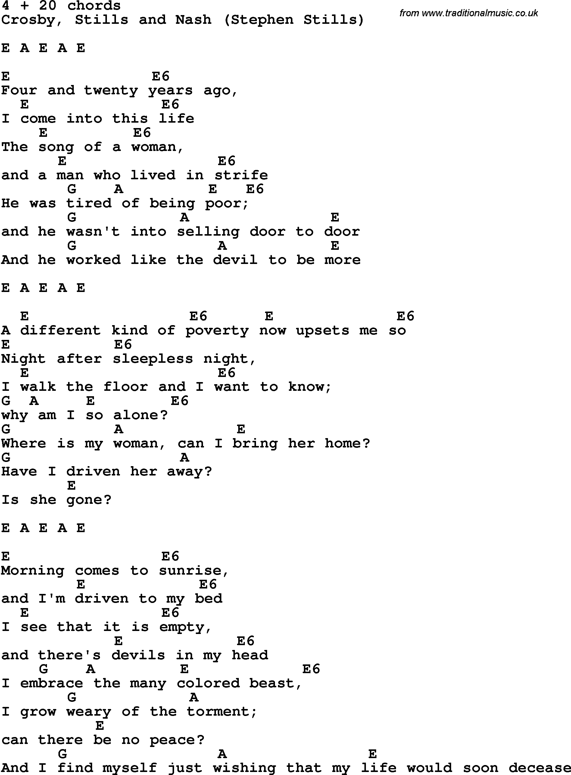4 Chord Song Song Lyrics With Guitar Chords For 4 Plus 20